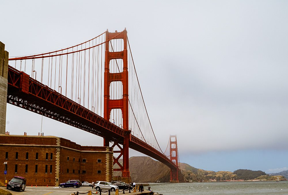 the view of the golden gate bridge from fort point
